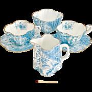 Charles Wileman Tea for Two set, demitasse Dolly Varden patt. 3750 on Alexandra shape, 1887