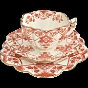 Charles Wileman teacup trio, red Blackberries on Daisy shape patt. 5177, 1894