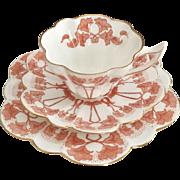 Charles Wileman teacup trio, red Petunia patt. 9157 Snowdrop shape, 1899