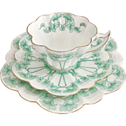 Charles Wileman teacup trio, green Petunia patt. 9154 Snowdrop shape, 1899