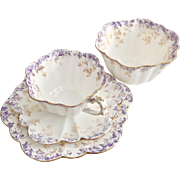 Antique Charles Wileman demitasse Tea for One set, lilac and beige ivy patt. 5044 on Empire shape, 1893