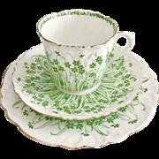 Charles Wileman teacup trio, green Grass print patt 9806 on Foley shape, 1903