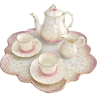 Wileman cabaret set, tete a tete, patt 6802 pink/beige daisies on Foley shape, 1893