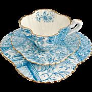 "Antique Charles Wileman teacup trio, turquoise ""Dolly Varden"" patt 3740 on Alexandra shape, 1887"