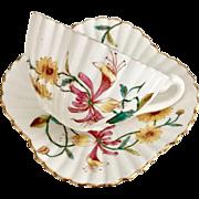 Charles Wileman teacup duo, polychrome Honeysuckle patt 3758 on Alexandra shape, 1887