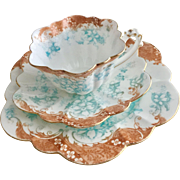 Antique Wileman teacup trio, Empire shape with Floral and Scroll pattern, 1899