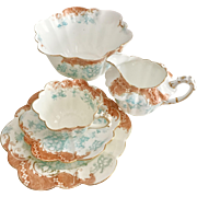 Wileman Tea for One set, turquoise/terracotta Floral Scroll #9108 Empire shape, 1899