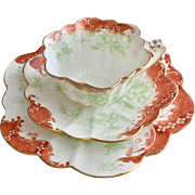 Antique Wileman teacup trio, Floral print on Empire shape, 1899
