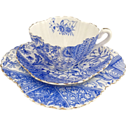 "RESERVED - Charles Wileman teacup trio ""Dolly Varden"" in blue on Alexandra shape, 1887"