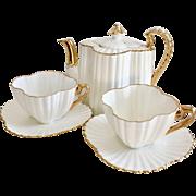 Antique Tea for Two demitasse set, Wileman Alexandra shape white, 1889