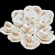 Spectacular English Victorian tea service for 6, Wileman Alexandra shape, 1889, amazing wedding gift