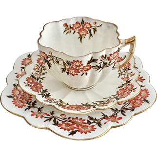 """Antique Charles Wileman """"Daisy"""" shape teacup trio with Daisy Wreath pattern, 1890"""