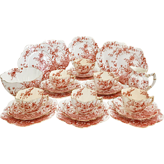 """Antique Charles Wileman """"Basket of Flowers"""" large tea set for six, 1893"""