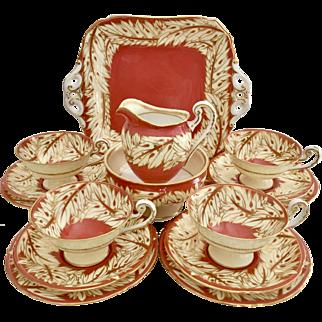 Very elegant pre-war tea set for four, Royal Worcester ca 1938