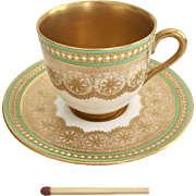 Miniature coffee cup with jewelled rim and gilt, Royal Worcester 1936