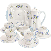 "Shelley ""Blue Rock"" Dainty coffee service for four, fine bone china"