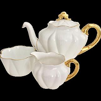 "Shelley ""Dainty White"" Regent teapot, creamer and sugar bowl, 1920s"