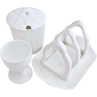 Shelley Dainty White breakfast set with toast rack, jam pot and egg cup
