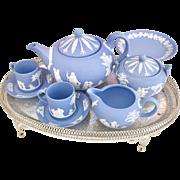 Wedgwood Jasperware teaset incl teapot and bonbonniere, 1960s-1980s