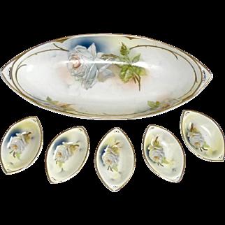 Vintage Royal Rudolstadt Prussia Porcelain Celery Dish w/ Hand Painted Art Nouveau White Roses & 5 Sauce Dishes