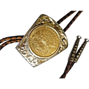 Vintage Bolo Tie Sterling Silver & 14k Gold with 1903 $20.00 Liberty Gold Coin