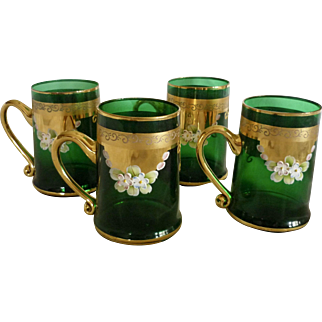 Vintage Moser Bohemian Style Green Glass Floral & Gold Mugs