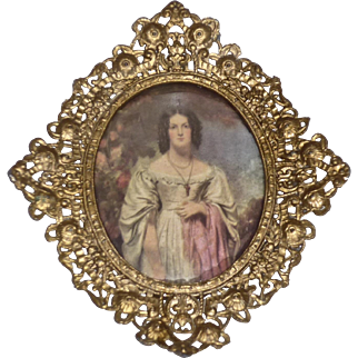 Victorian Ornate Picture Frame Gilded Metal with Antique Print