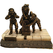 Bronze Sculpture Depicting Three Children Signed By Alonzo