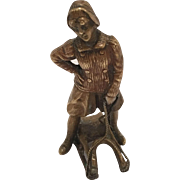 Antique Vienna Bronze Of A Girl On A Sled