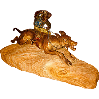 Antique Anthropomorphic Cold Painted Vienna Bronze Sculpture Of A Monkey Riding A Dog