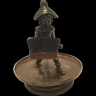 Rare Antique Austrian Bronze Pen Wipe With A Boy