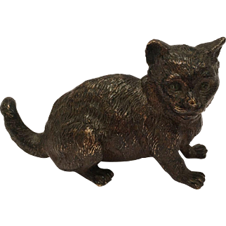 """Antique Cold Painted Vienna Bronze Cat Marked """"Geschutzt"""""""