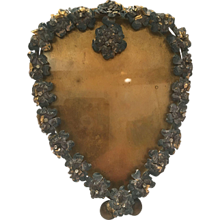 Painted Heart Shaped Bronze Frame With Stones