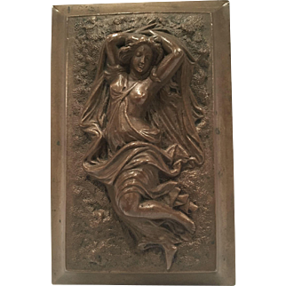 Antique Bronze Paperweight Of A Semi-Nude Woman