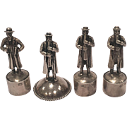 Antique Set Of Four Marked Russian Judaica Silver Bottle Tops