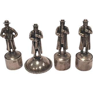 Unique Antique Set Of Four Marked Russian Judaica Silver Bottle Tops
