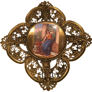 Antique Bronze hanging Plaque with A Center Painting