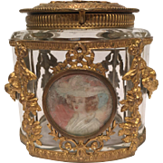 Wonderfully Cut Antique French Crystal and Bronze Box