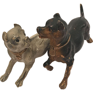 Antique Cold Painted Vienna Bronze Of Two Attached Dogs