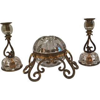 Extraordinary Antique French Crystal And Bronze Set
