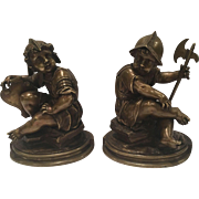 Pair Of Antique French Bronze Children Dressed Like Soldiers