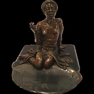 Antique Vienna Bronze Of A Semi-Nude Black Woman