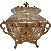 Antique Jewelled French Bronze And Crystal Box With Cover