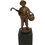 "Antique Painted Bronze Signed ""Lange"" Of A Boy With A Basket And Umbrella"