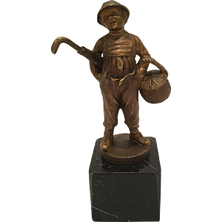 """Painted Bronze Signed """"Lange"""" Of A Boy With A Basket And Umbrella"""