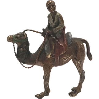 Antique Cold Painted Vienna Bronze Of A Camel And A Rider