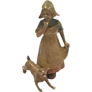 Antique Cold Painted Vienna Bronze Of A Girl With A Dog