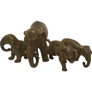 Antique Cold Painted Bronze Sculpture Of A Mother Elephant With Her Three Babies