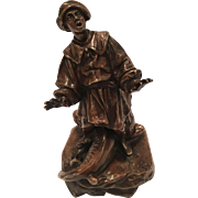 Antique Bronze Sculpture Of A Boy With Mythological Animal With 2 Heads