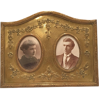 Unusual Horizontal Bronze Frame For Two Photos